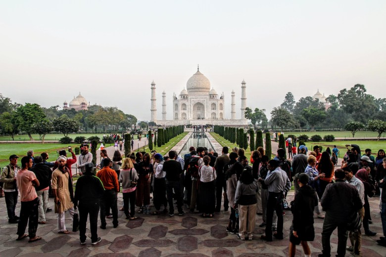 Crowds in front of the Taj Mahal, Agra