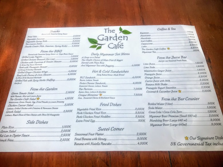 The Garden Cafe Menu, Mingun, Myanmar