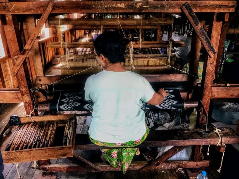 Lotus weaver at Inle Lake, Myanmar