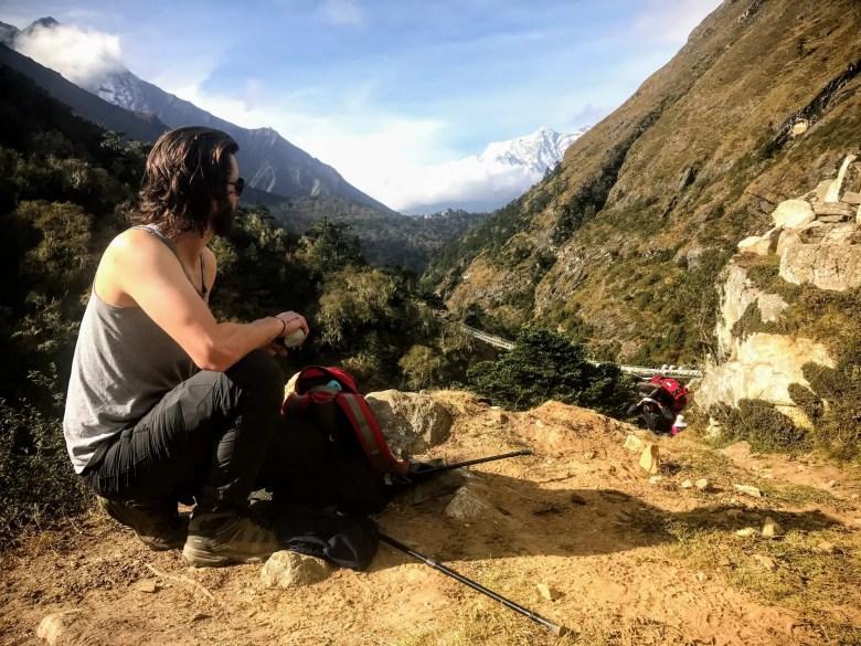 Trekker on the Everest Base Camp trek, Nepal