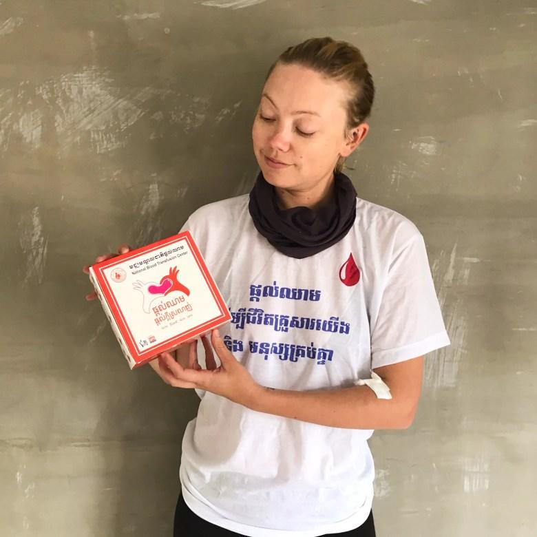 Wearing my blood donation T-shirt, Phnom Penh, Cambodia