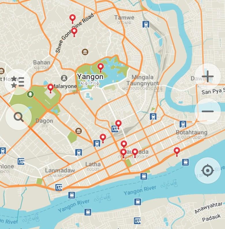 Map of Yangon, Myanmar