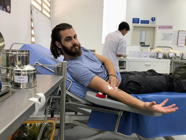 Donating blood in Phnom Penh, Cambodia