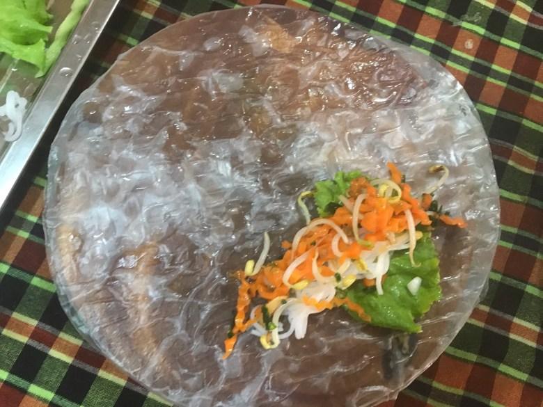 Making fresh spring rolls, Battambang, Cambodia