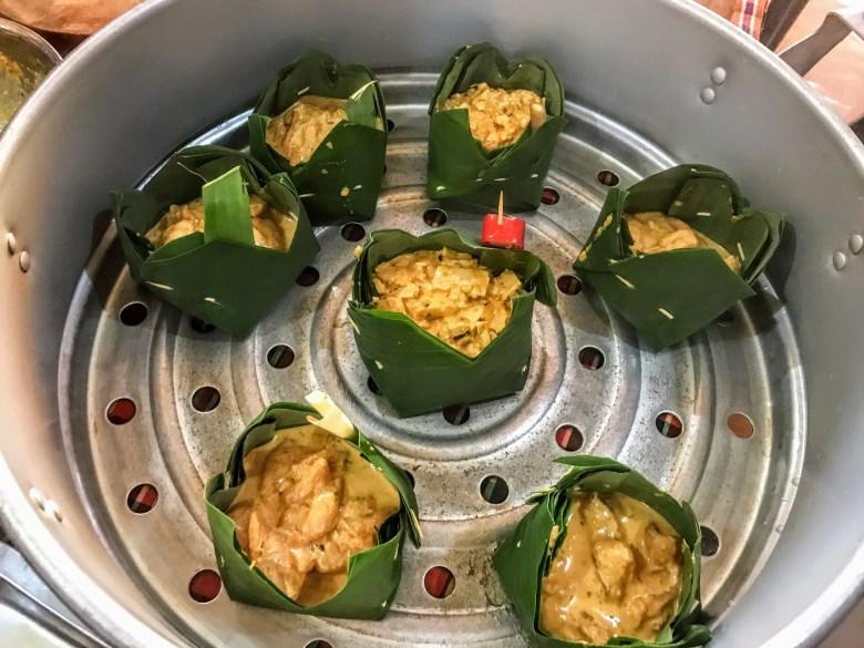 Tofu amok in the steamer, Battambang, Cambodia