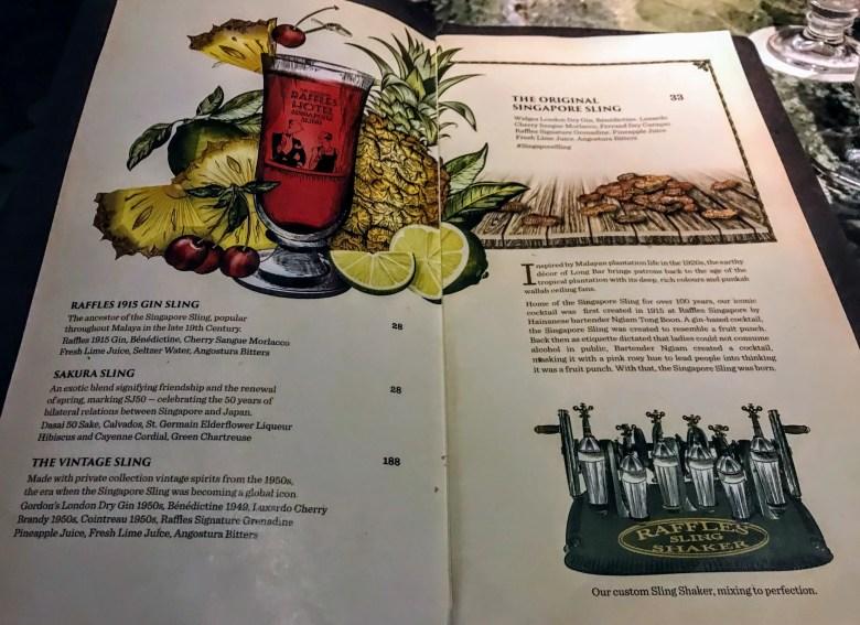 Singapore sling menu, Raffles Hotel
