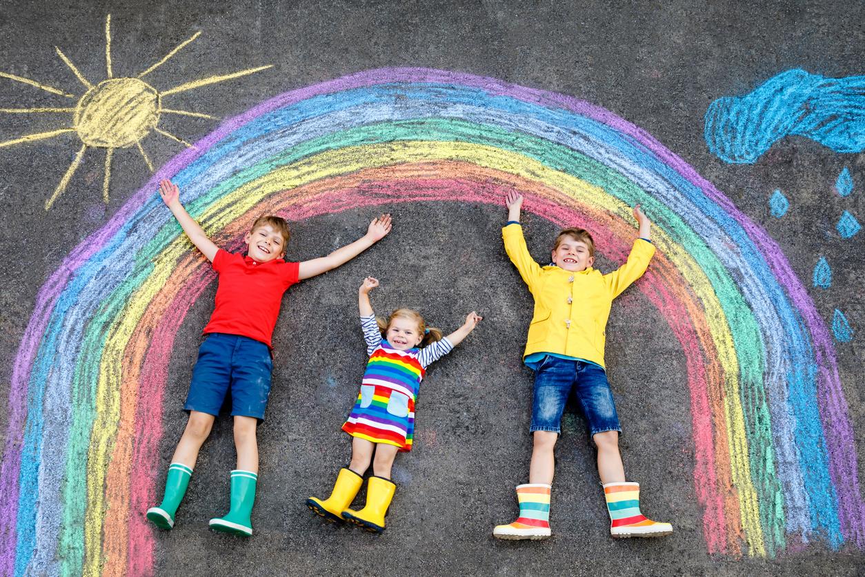 Kids with a chalk rainbow