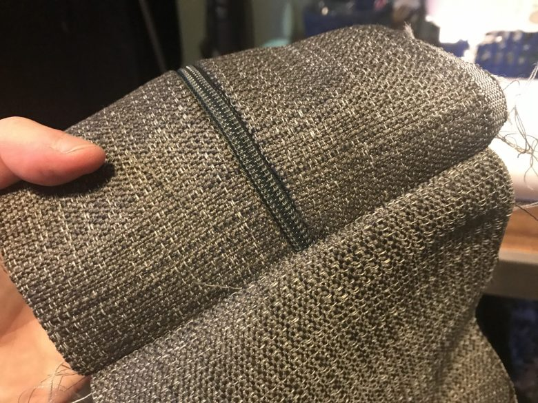 Inserting zip into a sofa cushion