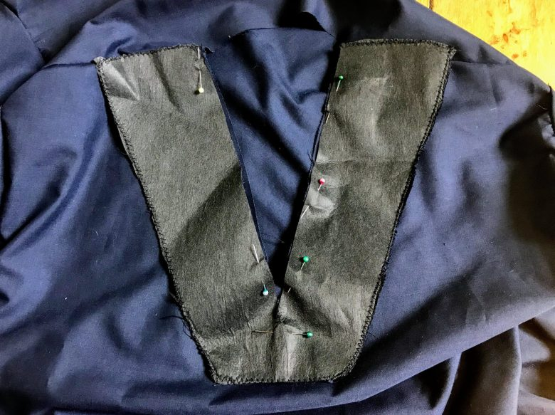 Pinning the 'V' facing on to scrubs