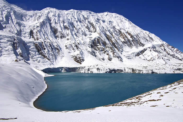 A picture of the Tilicho lake, a site along the Annapurna Circuit