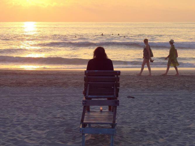 An shot of the beach scene at Zicatela Beach