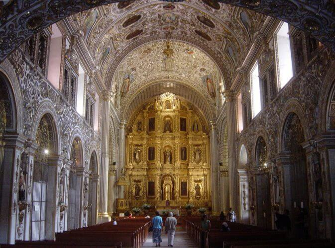 A picture taken inside the Santo Domingo Church in Oaxaca. Famous for its architecture.