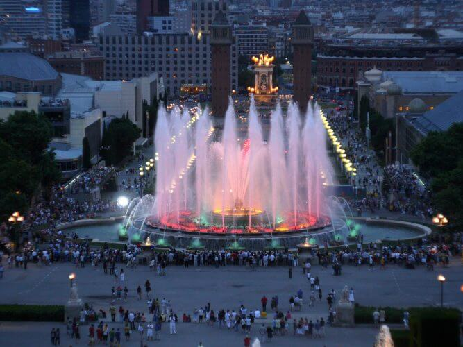 An aerial view of the fountain of motjuic in Barcelona. A common feature on people's things to do in barcelona list.