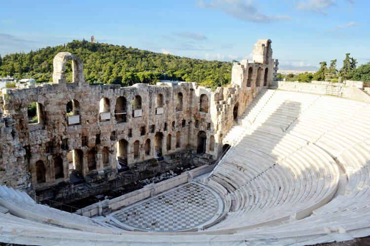 A shot of the well preserved Odeon of Herodes Atticus which is a stone theatre in Athens