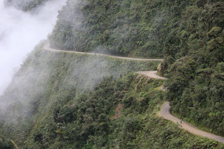 A shot of the world famous Yungas road with a cloud cover