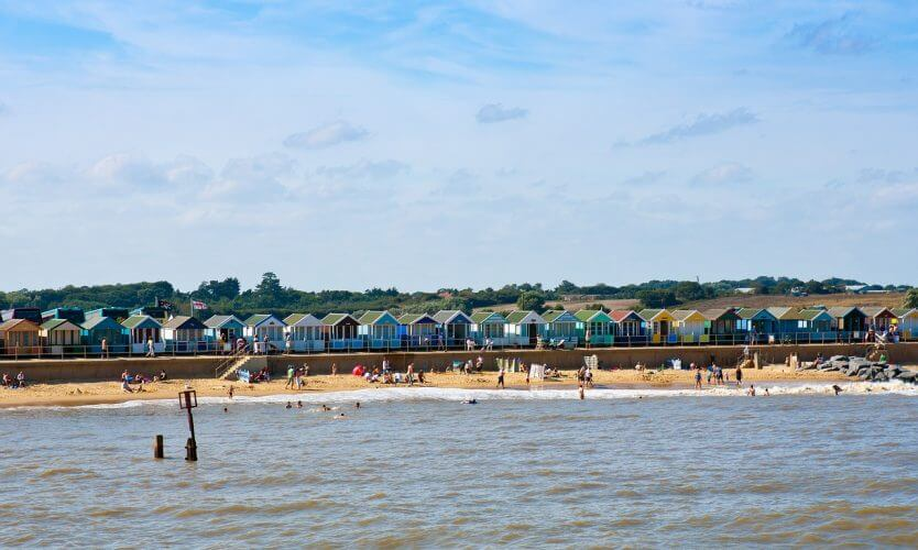 A shot of the beach houses in Southwold