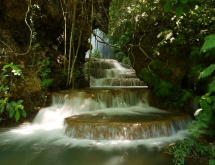 The beautiful Boca da Onca Waterfall in Bonito