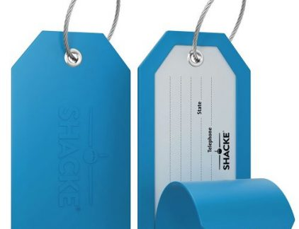 A shot of two of the best luggage tags made by Shacke