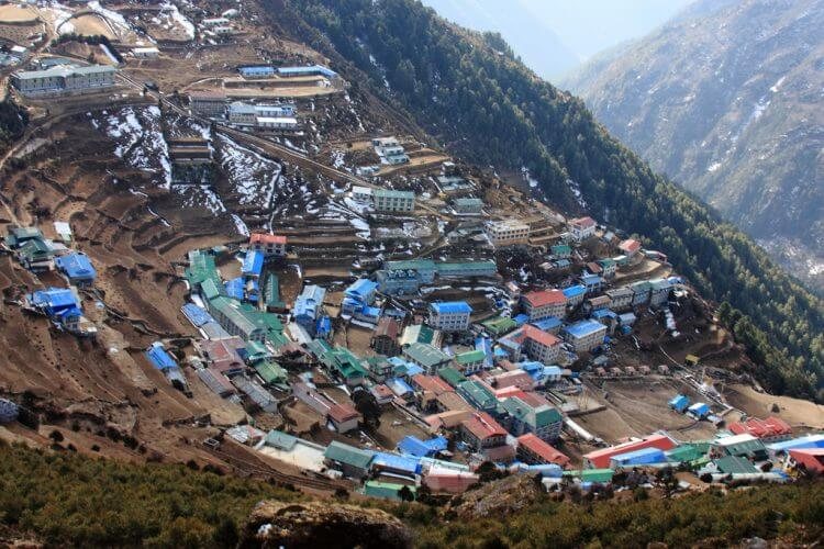 An aerial view of namche bazaar. A mainstay in every Himalayan region trekking route.