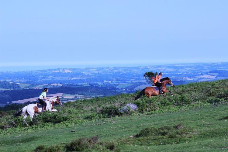 Some folks riding horses across the dartmoor national park