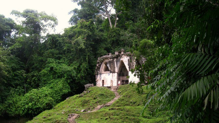 An ancient Mayan temple is pictured here.