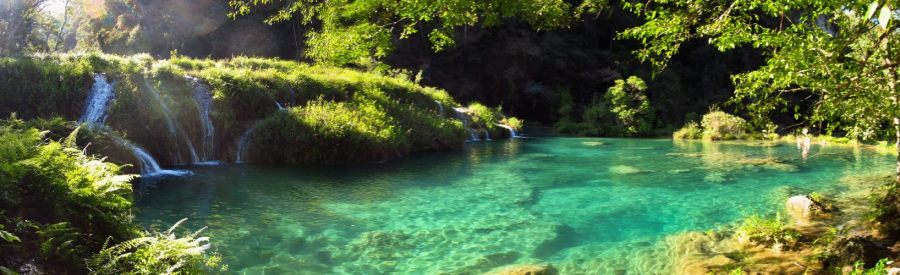 A panoramic view of the pools at Semuc Champey