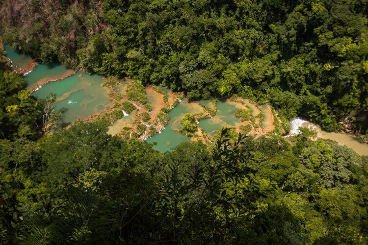 An aerial view of the pools at Semuc Champey