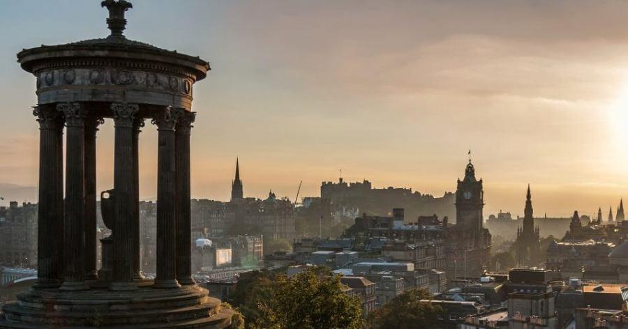 Edinburgh's skyline as seen from Calton Hill is seen here