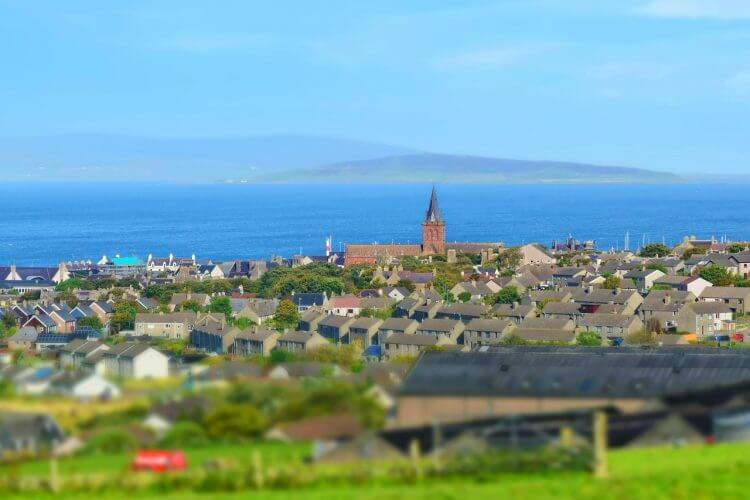 A view of Orkney town from a hilltop