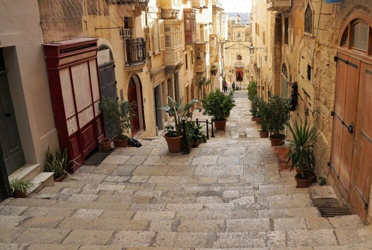 The Maltese architecture is captured in this photo