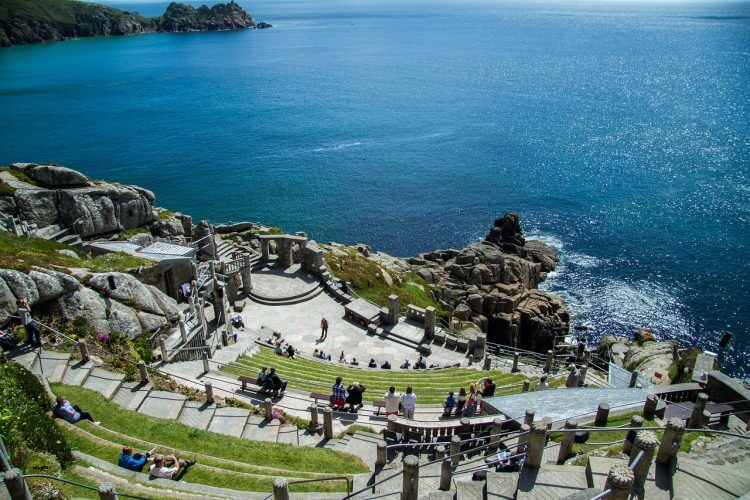 This is an aerial view of the minack theatre in cornwall