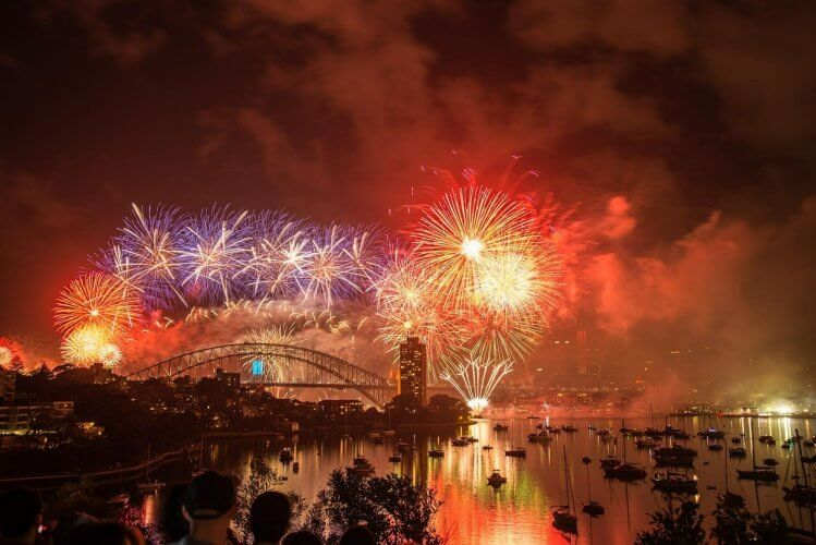 Sydney new years fireworks are shown in this image