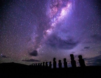 Moai seen under a stary sky in Chile