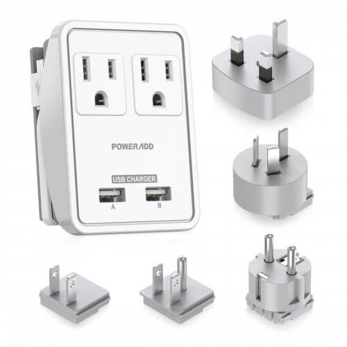 2. Poweradd 2-Outlet International Travel Adapter/ Charger