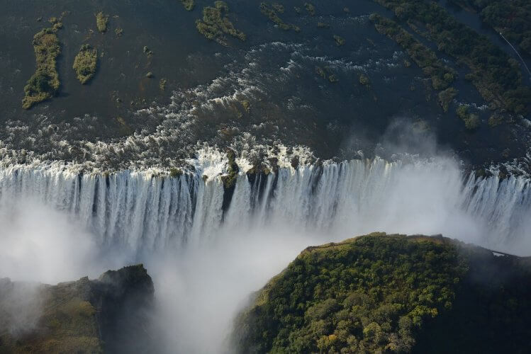An aerial view of the Victoria Falls in Zambia