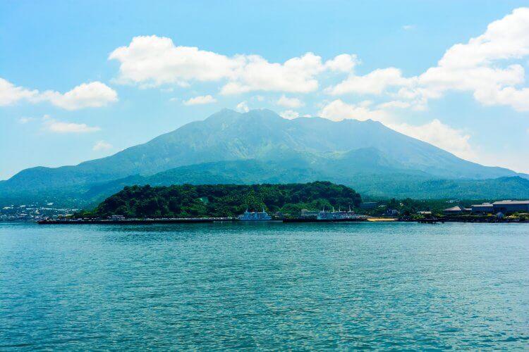 A mountain view of the Sakurajima