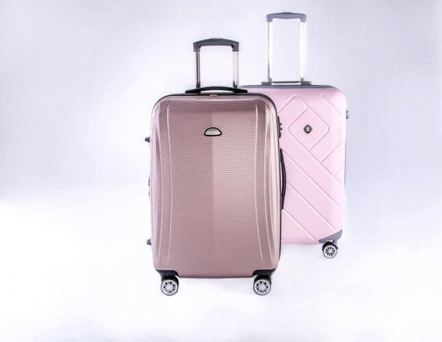 A hardsided suitcase is seen here