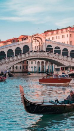 A picture of the Rialto bridge in Venezia italy