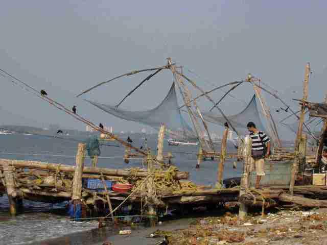 fishing nets set in a row