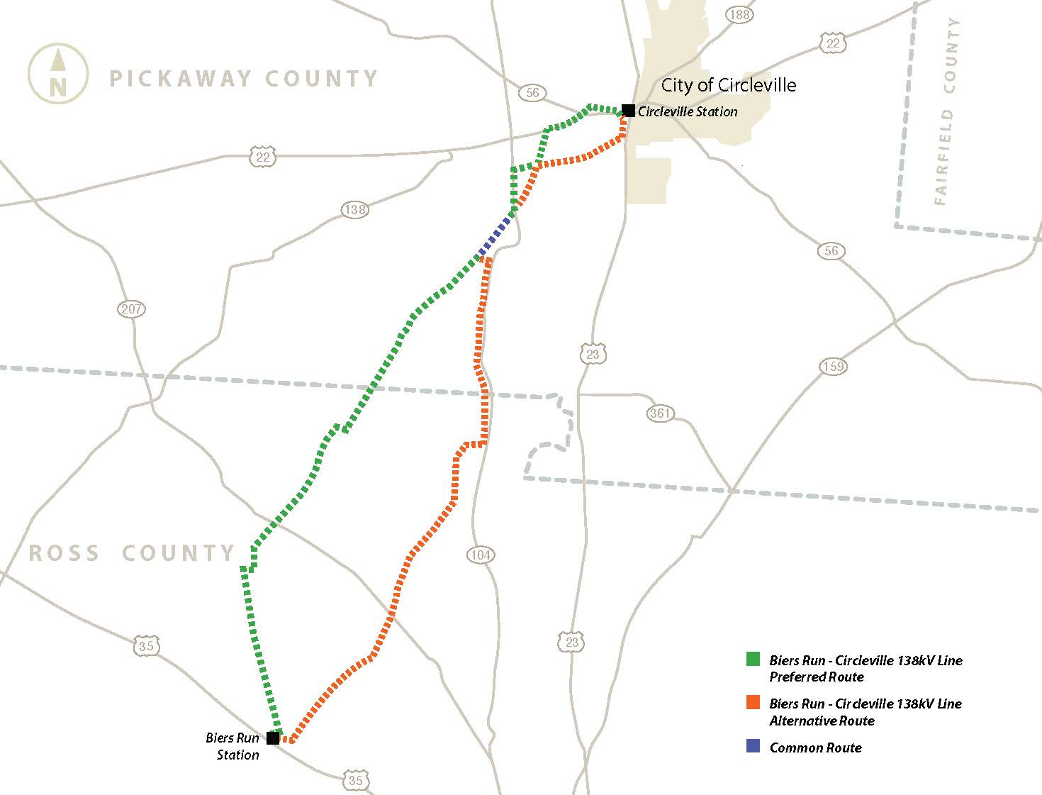 Map Of Biers Run Circleville Transmission Line Project