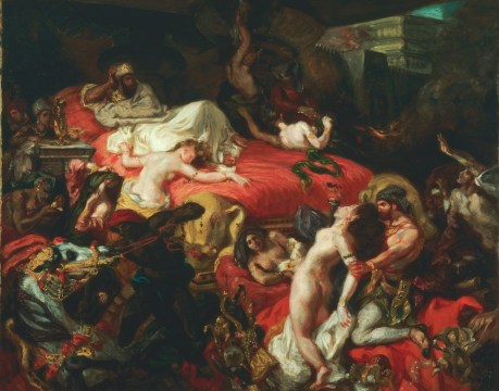 "Eugene Victor Ferdinand Delacroix, ""Death of Sadanapalus, "" 1827, isn't my favorite Delabroix, but it presage how the French Revolultion, Napoleonic Wars, and almost unending violence of the early nineteenth century began in literature with De Sade and ended with Grand Guignol."