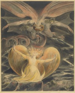 "William Blake's ""The Great Red Dragon and the Woman Clothed with the Sun,"" 1805. If you claim to care about fantasy art and don't know Blake images you suck, Thomas Harris used the Biblical passage and the painting in RED DRAGON; I am merely using the passage in MANUFACTURING MIRACLES."