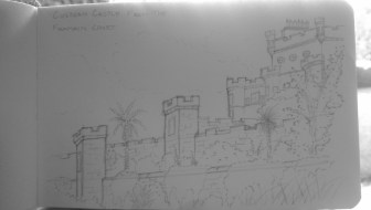 Sketch of Culzean Castle from the lower court