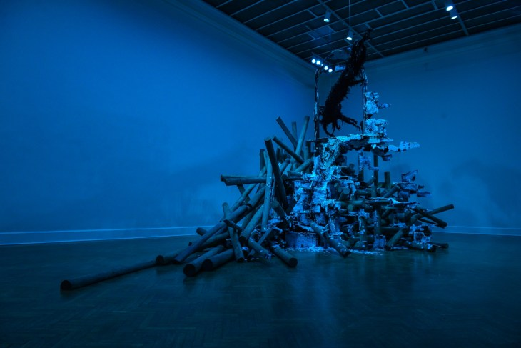 Boreal, 2013. Timber, Styrofoam, steel, feathers, tar, black enamel, aircraft cable, and blue light Dimensions variable, approximately 16 x 24 x 20 feet. Photo: Kate Warren/GoKateShoot