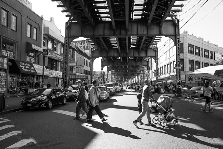 Broadway and Flushing Avenue under the elevated JMZ subway line in Brooklyn.
