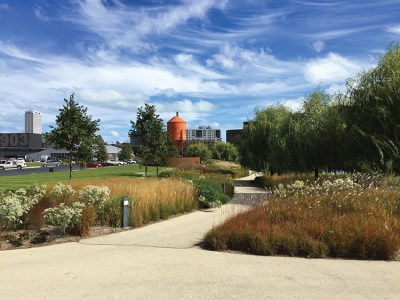 At the eastern end of the Valley, the Harley-Davidson Museum has pathways through naturalized plantings along the river and canal. Credit: Adam Regn Arvidson, FASLA.