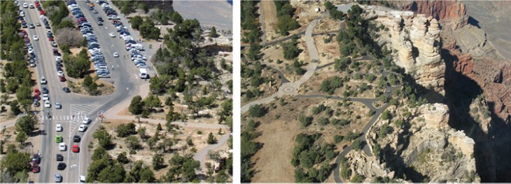 Parking and the roadway once hugged the canyon rim (left). Now visitors approach on foot through re-established habitat.