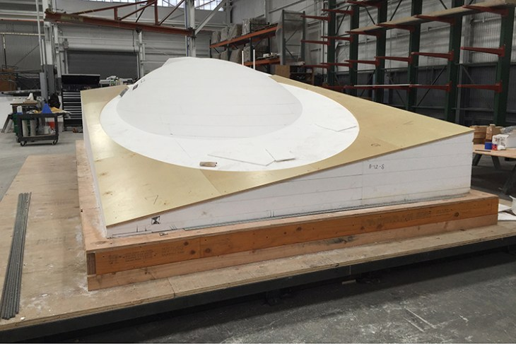 The 2-ton mold for the cistern was made of wood and foam. Image courtesy of Concreteworks.