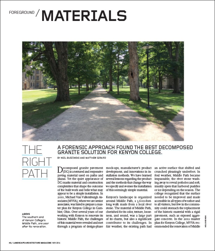 A forensic approach found the best decomposed granite solution for Kenyon College.