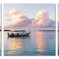 Boat At Sunset Triptych